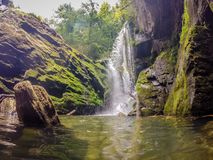 Waterfalls in the mountains on lake jocassee south carolina Stock Photo