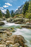 Waterfalls and mountains at Restonica in Corsica Stock Photo