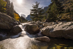Waterfalls in the mountains of Restonica valley in Corsica Royalty Free Stock Images