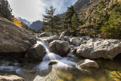 Waterfalls in the mountains of Restonica valley in Corsica Stock Image