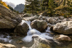 Waterfalls in the mountains of Restonica valley in Corsica Stock Photography