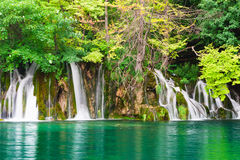 Waterfalls in national park. Plitvice. Waterfalls in national park falling into turquoise lake. Plitvice, Croatia Royalty Free Stock Images