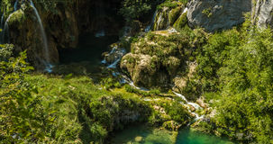 Waterfalls in National Park Plitvice Lakes Stock Images