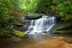 Waterfalls Nature Landscape in Blue Ridge. Motion Blur Waterfalls Peaceful Nature Landscape in Blue Ridge Mountains with lush green trees, rocks and flowing