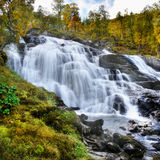 Waterfalls, Norway. Waterfalls in colorful autumn landscape. Norway Royalty Free Stock Images