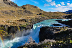 Waterfalls in Parque Nacional Torres del Paine, Chile Royalty Free Stock Photos