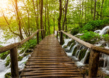 Waterfalls and pathway in the Plitvice National Park, Croatia Stock Image