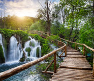 Waterfalls and pathway in the Plitvice National Park, Croatia