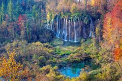 Waterfalls in Plitvice Lakes. Image of autumn landscape in Plitvice National Park with beautiful waterfalls during sunrise in fall stock image