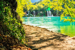Waterfalls in Plitvice Lakes National Park Stock Images
