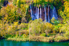 Waterfalls of Plitvice National Park in Croatia. Autumn colors and waterfalls of Plitvice National Park in Croatia Stock Image