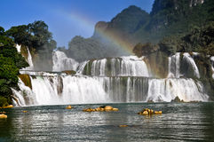 Waterfalls rainbow royalty free stock images