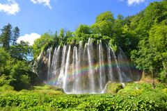 Waterfalls with rainbow in Plitvice Lakes National Park, Croatia royalty free stock photography