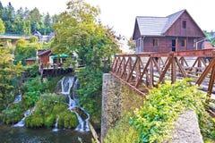 Waterfalls of Rastoke river village Stock Photos