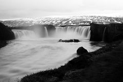 Waterfalls on river in black and white Stock Photography