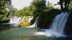 The Waterfalls of Slunj. Waterfalls in the rivers Slunj and Koran. Croatia stock video