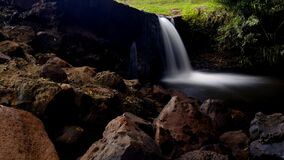 Waterfalls With Rocks in the Middle of Forest Royalty Free Stock Photography