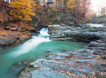 Waterfalls on Rocky Autumn Stream Royalty Free Stock Images