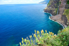 The waterfalls of Seixal in Madeira. Waterfalls of Seixal in Madeira, Portugal stock photo