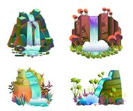 Waterfalls set. Cartoon landscapes with mountains and trees. Vector illustration stock illustration
