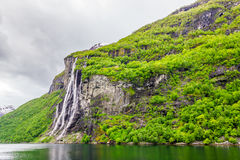 Waterfalls Seven Sisters in Geirangerfjord Stock Images