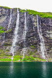Waterfalls Seven Sisters in Geirangerfjord Royalty Free Stock Photo