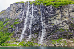 Waterfalls Seven Sisters in Geirangerfjord, Norway Royalty Free Stock Photos