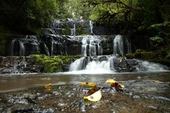 Waterfalls in south island in New Zealand. Purakaunui waterfalls in south island in New Zealand stock photo
