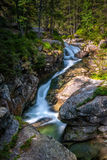 Waterfalls on a stream in High Tatras National Park Royalty Free Stock Photography