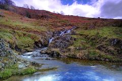 Waterfalls and the stream. On the hillside Royalty Free Stock Photo