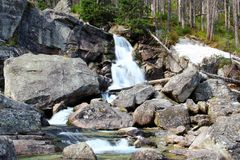 Waterfalls of Studeny potok in High Tatras, Slovakia Stock Photography