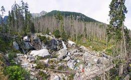 Waterfalls of Studeny potok stream in High Tatras, Slovakia Stock Photos