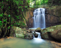 Waterfalls with Sun Ray in Borneo Royalty Free Stock Photos