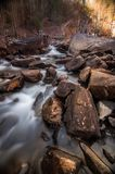 River flowing in Tallulah Falls. Waterfalls in Tallulah Gorge State Park, GA Royalty Free Stock Photo