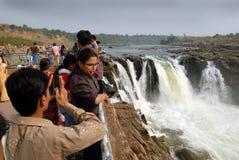 Waterfalls & the tourists. December 10.2010Bheda ghat,Jabalpur,Madhya Pradesh,India-Tourist near the Bhedhaghat waterfalls stock photos