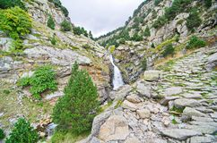 Waterfalls in Vall de Nuria, Pyrenees, Catalonia, Spain Royalty Free Stock Photography