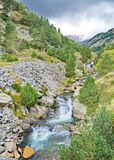 Waterfalls in Vall de Nuria, Pyrenees, Catalonia, Spain Royalty Free Stock Images