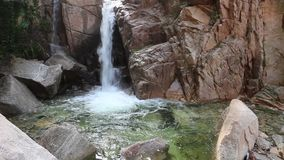 Waterfalls in the valley. Are turbulent and clear. Very beautiful scenery stock video footage