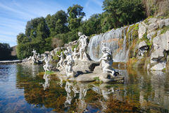 Waterfalls water gardens of the Royal Palace. Atteone and Diana's fountains waterfalls water gardens of the Royal Palace of Caserta, Italy Stock Photo