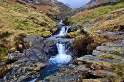 Waterfalls by the Watkins path at Cwm-y-Llan, Snowdon Royalty Free Stock Image