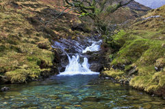 Waterfalls by the Watkins path at Cwm-y-Llan, Snowdon Stock Photography