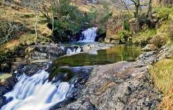 Waterfalls by the Watkins path at Cwm-y-Llan, Snowdon Stock Photo
