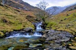 Waterfalls by the Watkins path at Cwm-y-Llan, Snowdon Stock Image