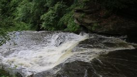 Waterfalls on Wolf Creek. Landscape in Letchworth State park, New York stock video