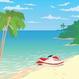 Waterfiets op zandig strand met palmen Stock Fotografie