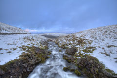 Waterflow. Ing down valley in South Wales Stock Image