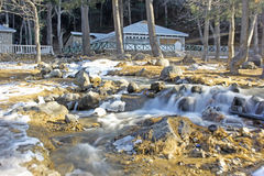 Waterflow in the woods,rocks and leaf fall during snow Stock Image