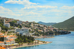 Waterfont in Neum. NEUM, BOSNIA AND HERZEGOVINA - JULY 16, 2017 : A view of the town and waterfront in Neum, Bosnia and Herzegovina Royalty Free Stock Images