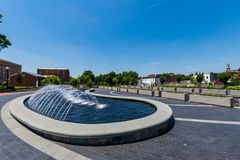 Waterfontein in Carrol Creek Promenade in Frederick, Maryland Royalty-vrije Stock Foto's
