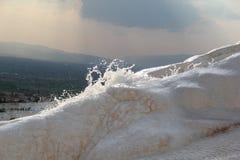 Waterfontein in Pamukkale Hieropolis Stock Foto's